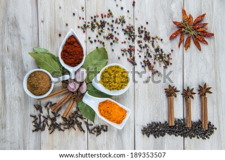 Colorful spices assortment on a wooden table in the kitchen