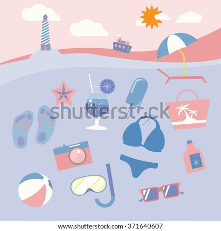 Colorful summer holiday beach equipment icon set. Travel digital raster background leaflet illustration. Summer infographics.