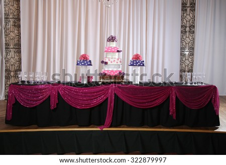 Colorful Sweet 16 or wedding cake and table