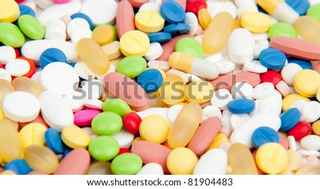 Colorful tablets with capsules. Macro of background made from pills and capsules