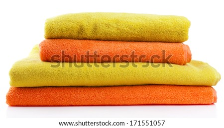 Colorful towels isolated on white