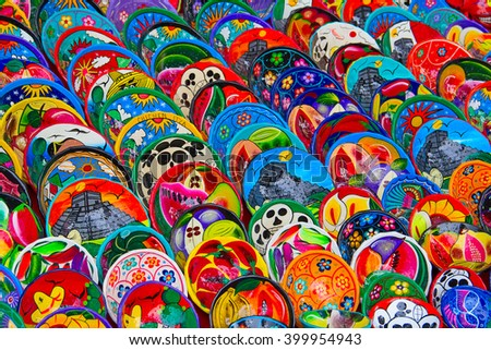 Mexican Ceramic Plates Bowls Sale Stock Photo 91617203 ...
