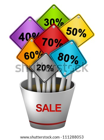 Colorful Traffic Sign With Many Percentage Discount in Silver Metallic Sale Vase for Special Promotion Campaign Isolate on White Background