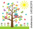 Colorful tree with cute owl and birds.  Raster version - stock