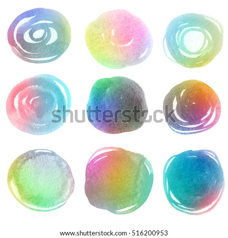 Colorful watercolor bubbles. Rainbow colors isolated shapes on white background. Web elements for icons, banners and labels.