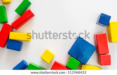Colorful wood block toy on white background. Creativity toys.Wooden building blocks