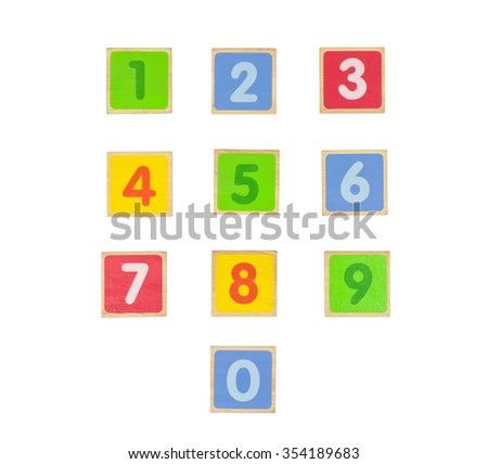 Colorful wooden blocks number 0-9, Math practice for kid, on white background, isolated