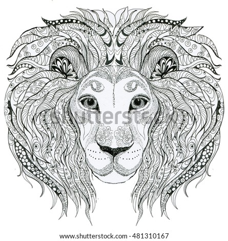 Coloring Book For Adults Lion With Patterns Illustration A Page Contour
