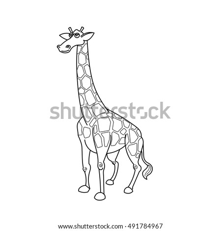 Coloring Pages Animals Little Cute Giraffe Stock Vector 413641501