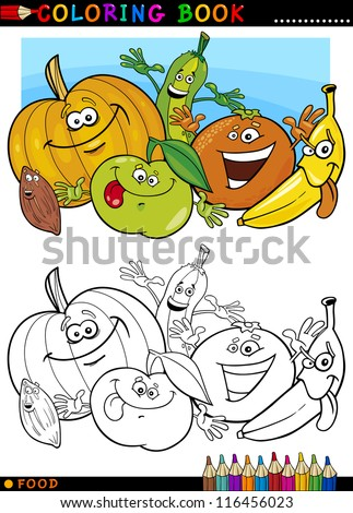 Coloring Book Or Page Cartoon Illustration Of Funny Food Characters Fruits And Vegetables For Children Education