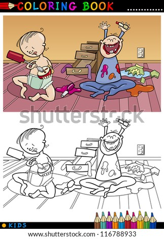 coloring book or page cartoon illustration of naughty cute babies and children - Naughty Coloring Book