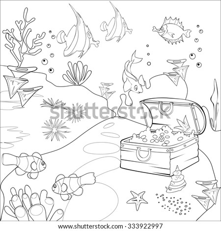 Coloring with underwater landscape