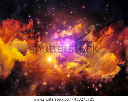 Colors in Space series. Artistic background made of colorful clouds and space elements for use with projects on art, creativity, imagination, science and design