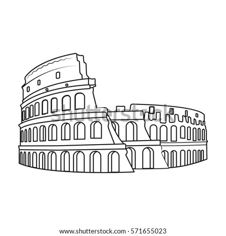 Colosseum italy icon outline style isolated stock vector for Colosseo da colorare