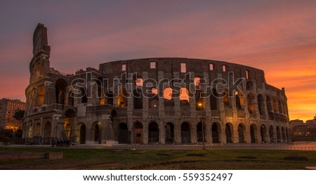 Colosseum in Rome Italy, one of seven wonders, before sunrise