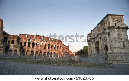 Colosseum with the triumph in Rome, Italy