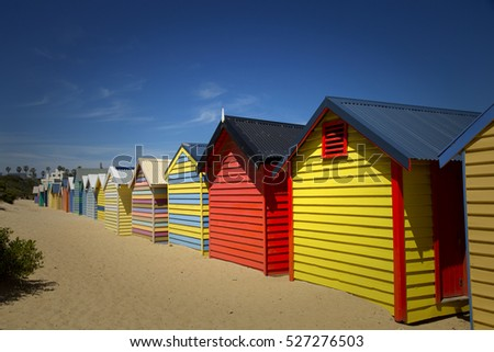 Colourful  boxes at Brighton beach in Victoria, Australia