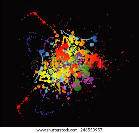 Colourful bright ink splat design with a black background template