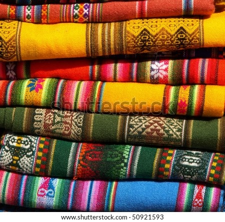Colourful native handicraft textile from Purmamaka,Jujuy,Argentina