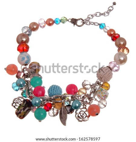 colourful necklace isolated on white background