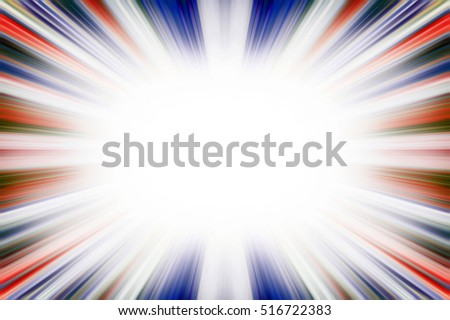 Colourful red, white and blue starburst explosion border