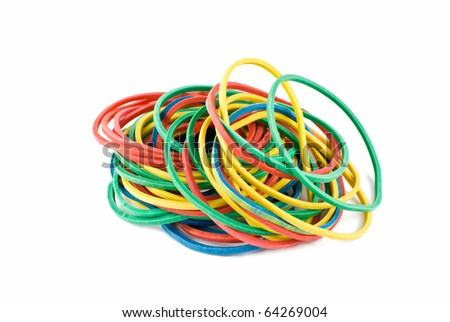 colourful rubber bands over white