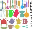 Colourful silhouettes of Kitchen utensils and objects - stock photo
