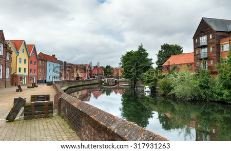 Colourful town houses at Quay Side overlooking the river Yare in Norwich, Norfolk