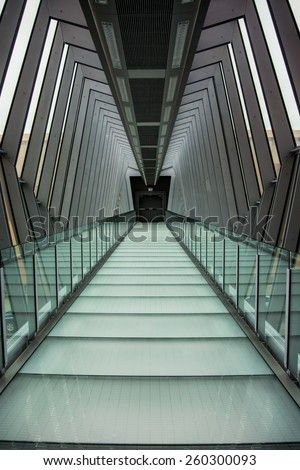 COLUMBUS, OHIO- October 3, 2014. A glass walkway to an exit door in the updated Columbus Convention Center brings business to the city.