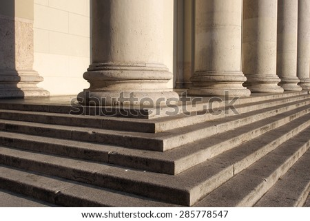 Columns and stairs of a church.