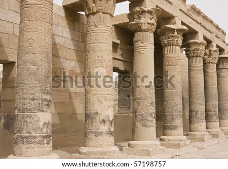 Columns in the Philae temple of Isis in Aswan, Egypt
