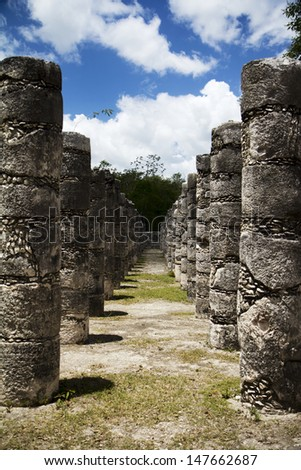 Columns of Mayan temple in Mexico