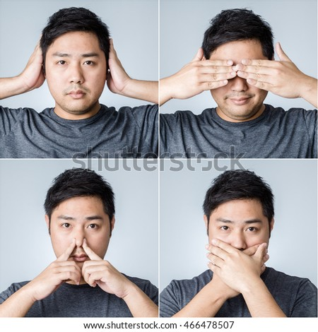 Combo Set Studio Portrait of Adorable Asian Man Covering His Ears, Eyes, Nose and Mouth On White Background