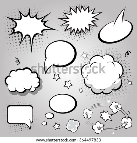 Comic Speech Bubbles.  Black and white
