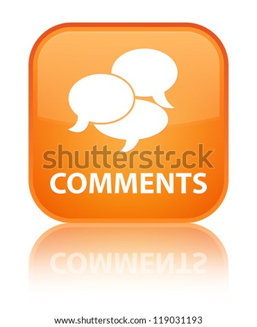 Comments glossy orange reflected square button