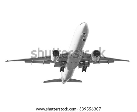 Commercial air plane isolated on white background with clipping path