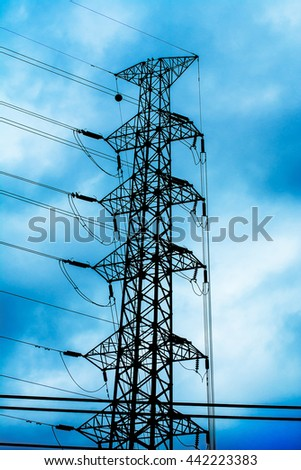communication antenna tower, radio antenna, television antenna, telephone antenna with a bright blue sky and clouds. background