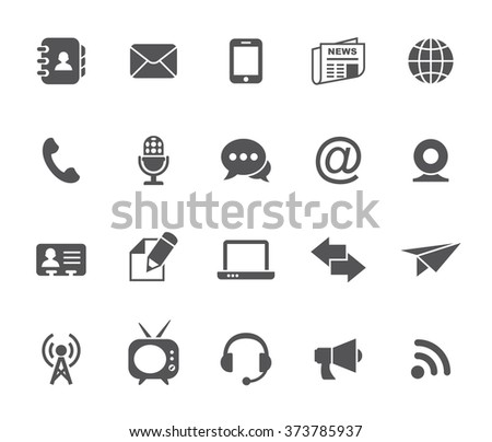 Communication icons isolated on white