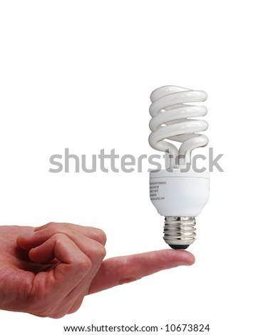 Compact fluorescent bulb on a finger, isolated on white