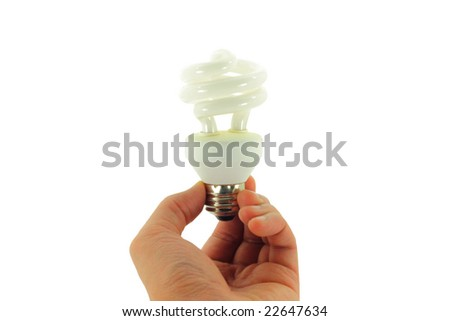 Compact Fluorescent Light bulb held in hand isolated on a white background