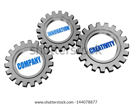 company, innovation, creativity - business concept words in 3d silver grey gearwheels