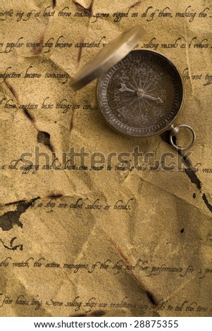 Compass on old letter