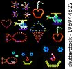 Compilation of backlit colored peg designs: cherry, fireworks, heart, helicopter, ice cream cone, face, fish - stock photo