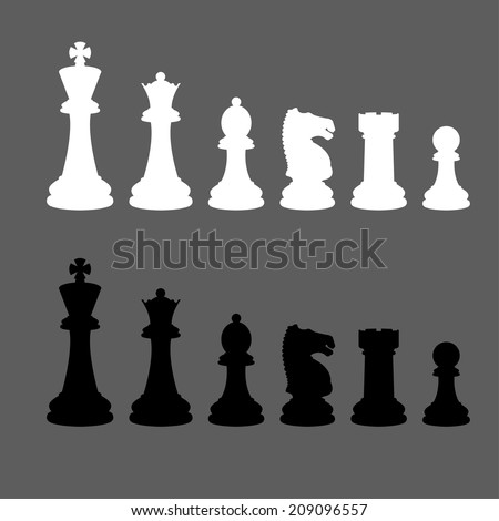 Complete set of vector silhouettes chess pieces (Vector version is also available in my portfolio, ID 178221305)
