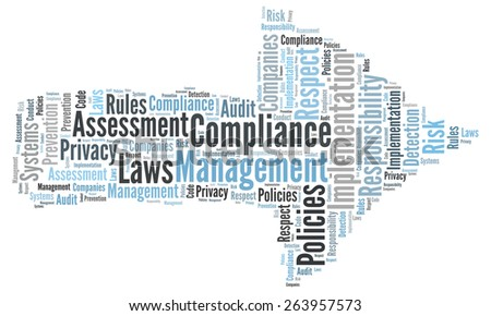 Compliance word cloud shaped as a arrow to the right