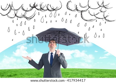 Composite image of man having an idea on a grey background