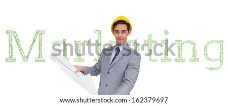 Composite image of serious architect with hard hat holding plans
