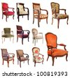 composite picture with antique chairs in front of white background - stock photo