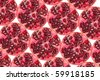 Composition made of slices of granates - stock photo
