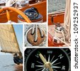Composition of boats and nautical equipment - stock photo